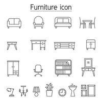 möbler ikonuppsättning i tunn linje stil vektor