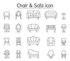 stol och soffa Ikonuppsättning i tunn linje stil vektor