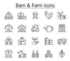 lada och gård ikonuppsättning i tunn linjestil