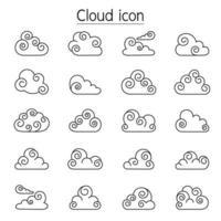 Curl Cloud Vektor Icons in dünne Linie Stlye gesetzt