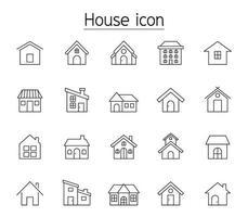hus ikonuppsättning i tunn linje stil