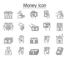 finans och bank ikonuppsättning i tunn linje stil vektor