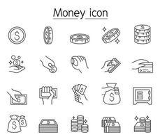 pengar, kontanter, mynt, valuta ikonuppsättning i tunn linje stil