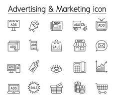 reklam och marknadsföring ikonuppsättning i tunn linje stil