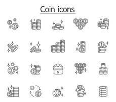 pengar och mynt ikonuppsättning i tunn linje stil vektor