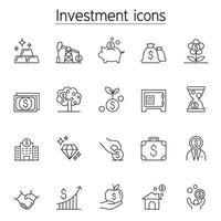 investering ikonuppsättning i tunn linje stil vektor