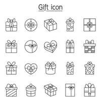 gåva, present, lådor Ikonuppsättning i tunn linje stil vektor