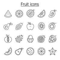 Fruchtsymbole im dünnen Linienstil eingestellt vektor