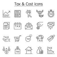 Steuer- und Kostensymbol im Stil einer dünnen Linie