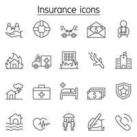 Versicherungssymbol im Stil einer dünnen Linie vektor