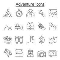 camping och äventyr ikonuppsättning i tunn linje stil