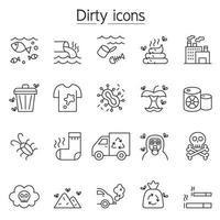 föroreningar ikonuppsättning i tunn linje stil vektor