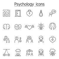 Psychologie-Ikone im dünnen Linienstil eingestellt
