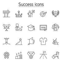 framgång ikonuppsättning i tunn linje stil