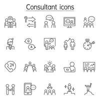 konsult ikonuppsättning i tunn linje stil vektor