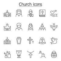 Kirchenikonen im dünnen Linienstil gesetzt vektor