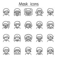 Personen in medizinischen Gesichtsschutzmasken-Ikonen, die im dünnen Linienstil eingestellt werden vektor