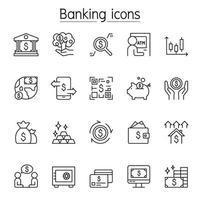 bank ikonuppsättning i tunn linje stil