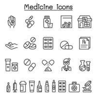 uppsättning medicinska läkemedelsrelaterade vektorlinjeikoner.