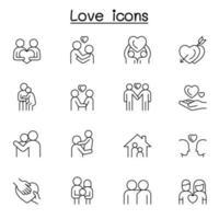 uppsättning kärlek linje ikoner. vektor
