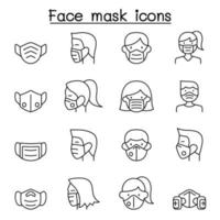 ansiktsmask skydd virus ikoner i tunn linje stil vektor