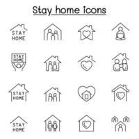 stanna hem ikonuppsättning i tunn linje stil vektor