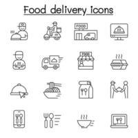 Lebensmittellieferungssymbole, die im dünnen Linienstil eingestellt werden