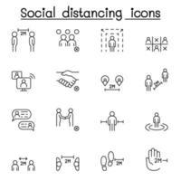 social distansering ikonuppsättning i tunn linje stlye vektor