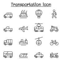 uppsättning transportrelaterade vektorlinjeikoner. vektor
