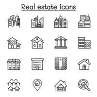 fastigheter, bygga ikonuppsättning i tunn linje stil vektor