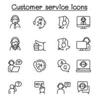 uppsättning kundservice relaterade vektor linje ikoner.