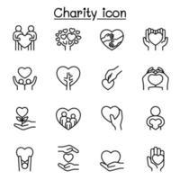 uppsättning donationer och välgörenhetsrelaterade vektorlinjeikoner. vektor