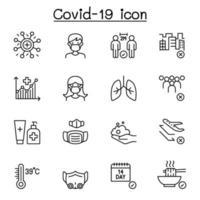 covid-19 ikonuppsättning i tunn linje stil vektor