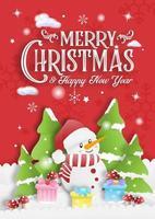 rote frohe Weihnachtseinladungskarte mit Schneemann-Geschenkbox und Baumhintergrund vektor
