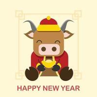 gott kinesiskt nyår av oxen vektor