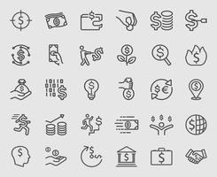 pengar linje ikoner set vektor