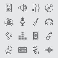 musik linje ikoner set vektor
