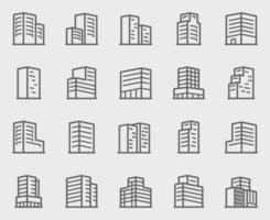 kontorsbyggnad linje ikoner set