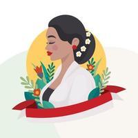 Feiern Sie den Kartini-Tag mit Blumendekoration vektor