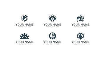 uppsättning plåster fungerar logotyper i olika stilar med murslev och kugghjul. olika logotyper för gipsarbeten, reparation och konstruktion