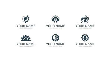 Satz von Verputzarbeiten Logos in verschiedenen Stilen mit Kellen und Zahnrädern. verschiedene Logos von Verputzarbeiten, Reparaturen und Bauarbeiten vektor