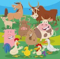 tecknad bondgård djur karaktärer grupp på landsbygden vektor