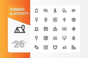 Hobbys und Aktivitätsikonenpaket lokalisiert auf weißem Hintergrund. für Ihr Website-Design, Logo, App, UI. Vektorgrafiken Illustration und bearbeitbarer Strich. eps 10. vektor