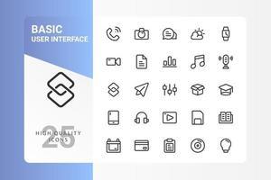 Grundlegendes UI-Icon-Pack für Ihr Website-Design, Logo, App, UI. Grundlegendes Design des UI-Symbols. Vektorgrafiken Illustration und bearbeitbarer Strich. eps 10. vektor