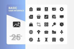 Grundlegendes UI-Icon-Pack für Ihr Website-Design, Logo, App, UI. Grundlegendes UI-Symbol Glyphen-Design. Vektorgrafiken Illustration und bearbeitbarer Strich. eps 10. vektor
