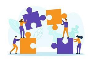 Geschäftsleute mit Puzzleteilen vektor