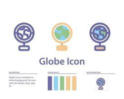 Globusikone in lokalisiert auf weißem Hintergrund. für Ihr Website-Design, Logo, App, UI. Vektorgrafiken Illustration und bearbeitbarer Strich. eps 10. vektor