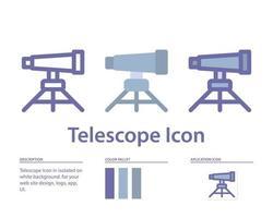 Teleskopsymbol in lokalisiert auf weißem Hintergrund. für Ihr Website-Design, Logo, App, UI. Vektorgrafiken Illustration und bearbeitbarer Strich. eps 10. vektor