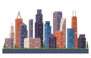 Straßenstadt Gebäudebau Stadtbild Skyline Business Illustration vektor