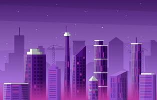 Nachtstadt Gebäudebau Stadtbild Skyline Business Illustration vektor